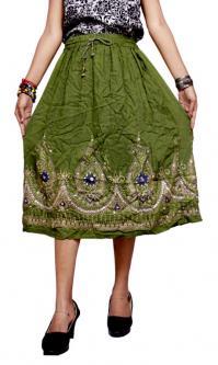 Indian Handwork Boho Hippie Green Gypsy Sequin Embroidered Work