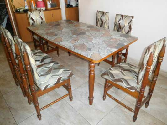 Pure teak dining table with 6 chairs