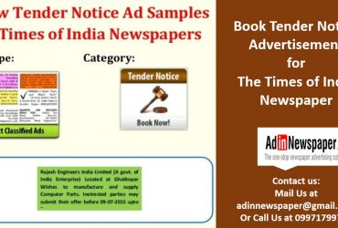 Tender Notice Newspaper Ad Booking Online