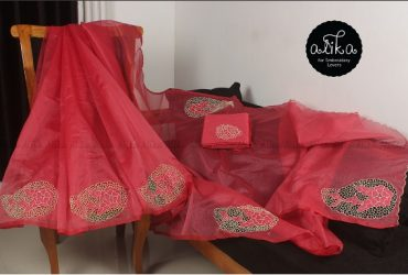 Red Kota Cutwork Saree for Baptism