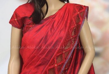Red Raw Silk Saree with Cutwork