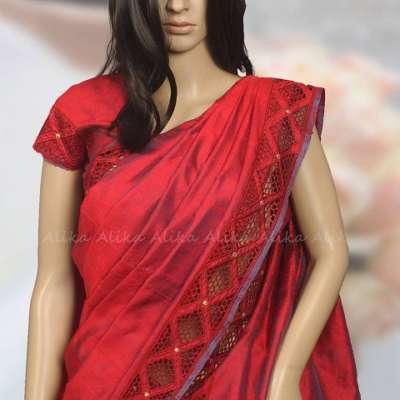 Red Raw Silk Saree with Cutwork
