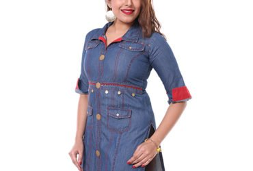 Heerva Women's Denim Cotton Kurti