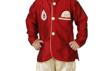 Embroidered boys indo western dress at Mirraw