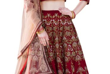 Embroidered unstitched wedding lehenga with dupatta at Mirraw