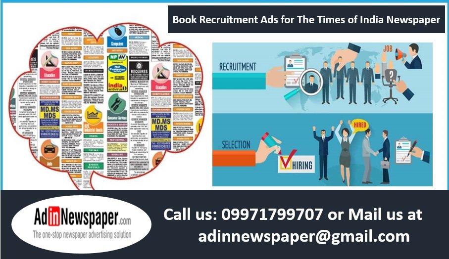 Times of India Mumbai Recruitment Ad Booking Online