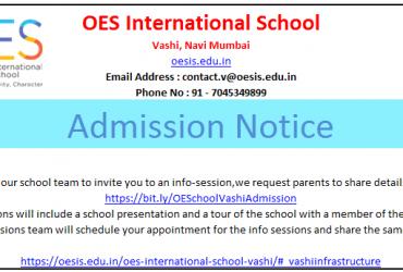 Admission Notice – Primary School | OES International School, Vashi, Navi Mumbai