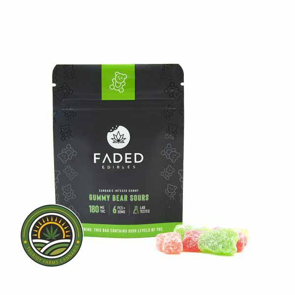 FADED CANNABIS CO. – GUMMY BEAR SOURS – 180MG THC
