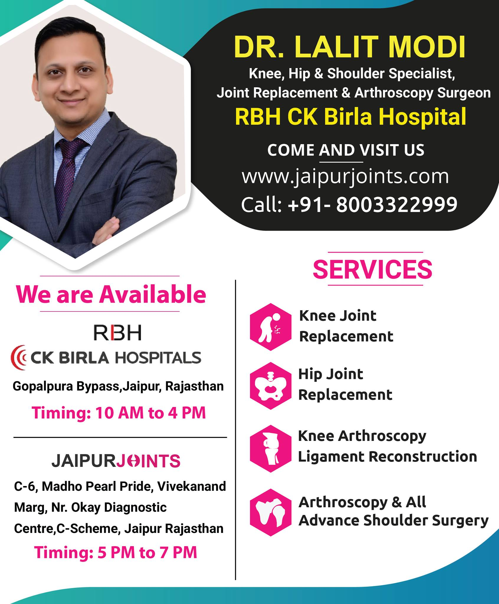 Get total knee replacement surgery in Jaipur by Dr Lalit Modi.