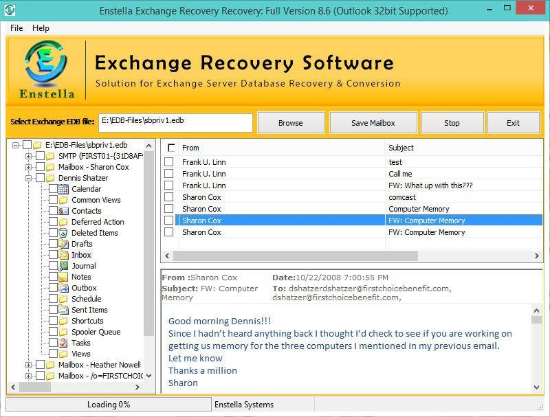 Enstella Exchange mailbox EDB Recovery Software