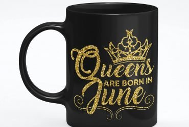 Private: Queens are Born in June& quote Printed Black Ceramic Birthday Mug   Best Gift for Women, Mom, Kids,