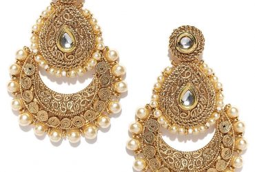 Private: Plated Traditional Chandbali Long Pearl Kundan Ethnic Antique Earrings For Women and Girls