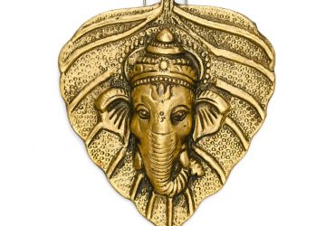 """Private: India Aluminum religion;figures Ganesha On Leaf Wall Hanging Sculpture, Golden, 5"""" x 4"""""""