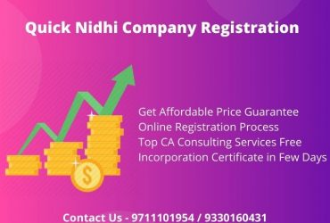 Quick Nidhi Company Registration Online at Low Cost in Pune-Ahmednagar-Nanded